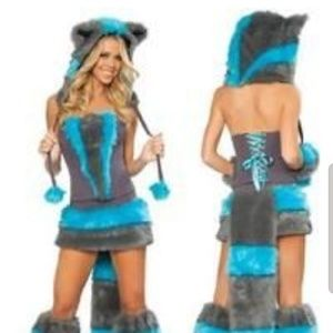 Like new Chesire Cat blue furry costume Small